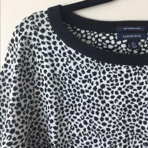 LANDS' END Supima 3Q Sleeve Jacquard Sweater